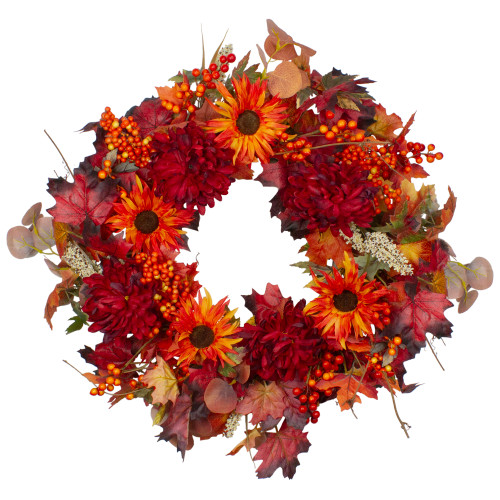 Leaves and Flowers Fall Harvest Wreath - 24-Inch, Unlit - IMAGE 1