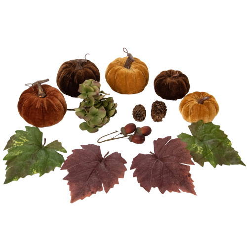 Set of 10 Pumpkin, Pine Cone, Berry and Leaves Thanksgiving Decor Set - IMAGE 1