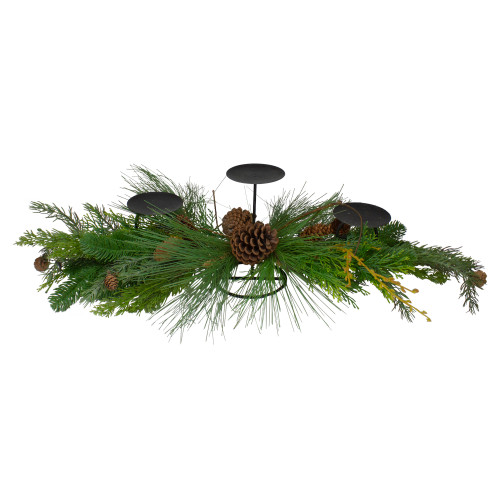 """32"""" Brown and Green Artificial Pine Cone and Pine Needle Christmas Candle Holder - IMAGE 1"""