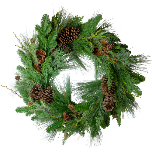 Pine Cone and Cedar Artificial Christmas Wreath - 32-Inch, Unlit - IMAGE 1