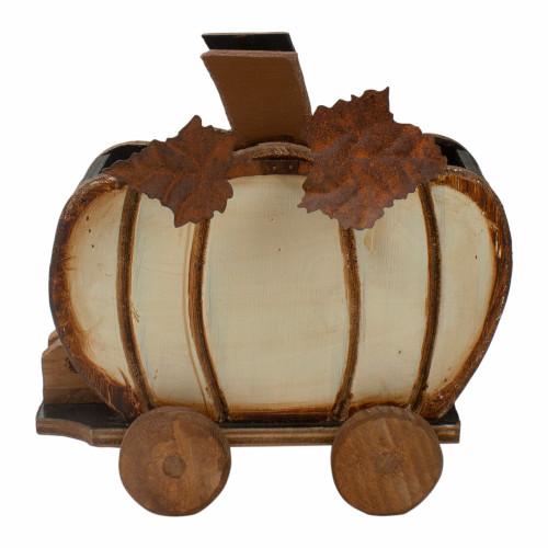 "10.5"" Fall Harvest Wooden Pumpkin Cart Tabletop Decoration - IMAGE 1"