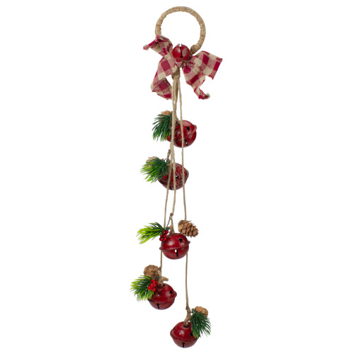 "15"" Pine and Red Jingle Bell Christmas Door Hanger with Plaid Bow - IMAGE 1"