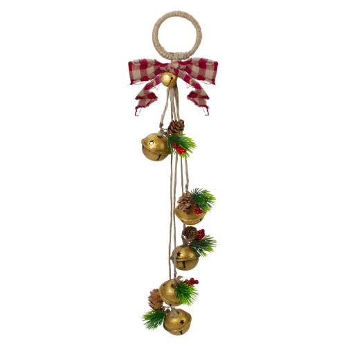 15-Inch Pine and Gold Jingle Bell Christmas Door Hanger with Plaid Bow - IMAGE 1