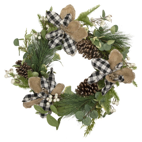 Magnolia and Frosted Pine Cones Artificial Christmas Wreath -  22-Inch, Unlit - IMAGE 1