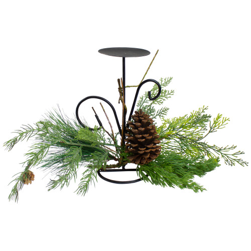 """10"""" Green Artificial Sprigs and Pine Cone Christmas Candle Holder - IMAGE 1"""