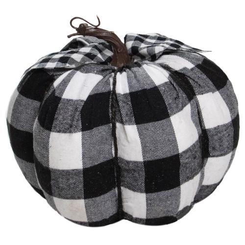 "7"" Black and White Buffalo Plaid Fall Harvest Tabletop Pumpkin - IMAGE 1"
