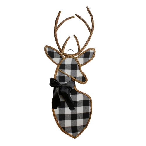 "27"" Black and White Fabric Deer Head Christmas Wall Decor - IMAGE 1"