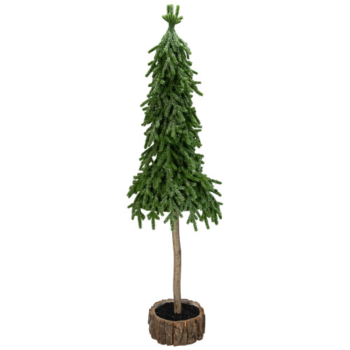 29.5-Inch Downswept Iced Artificial Christmas Tree Wood Base - Unlit - IMAGE 1