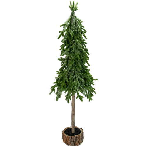 25.5-Inch Downswept Iced Artificial Christmas Tree Wood Base - Unlit - IMAGE 1