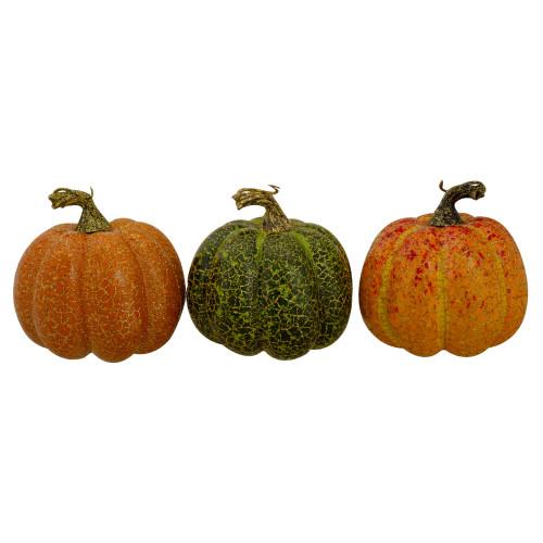 "Set of 3 Orange and Green Artificial Fall Harvest Pumpkins 4"" - IMAGE 1"