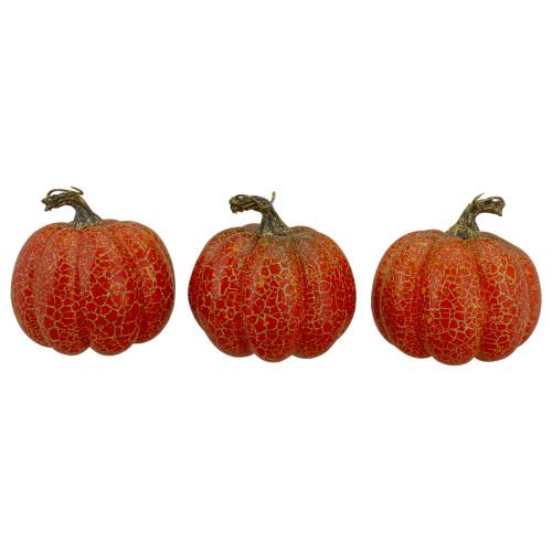 """Set of 3 Orange Artificial Fall Harvest Pumpkins 4"""" - IMAGE 1"""