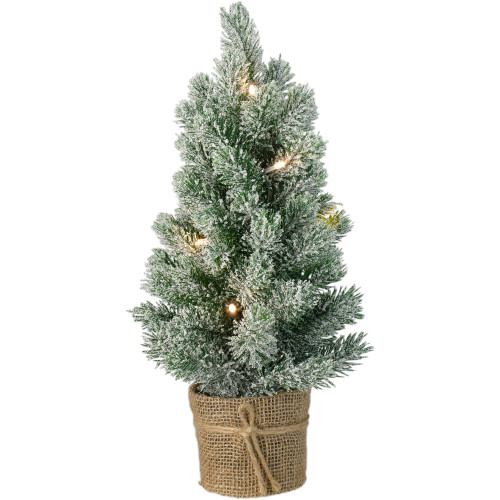 17-Inch Mini Artificial Tabletop LED Flocked Christmas Tree with Burlap Base- Clear Lights - IMAGE 1