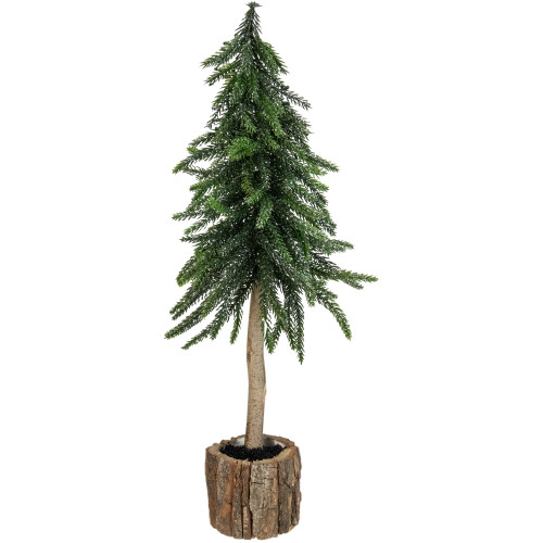 14.75in Downswept Glittered Artificial Mini Christmas Tree Wood Base - Unlit - IMAGE 1