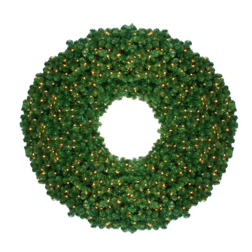 10' Pre-Lit Olympia Pine Commercial Artificial Christmas Wreath - Warm White Lights - IMAGE 1
