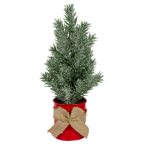 """12"""" Frosted Upswept Mini Christmas Tree with Red Tin Base and Burlap Bow - Unlit - IMAGE 1"""
