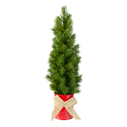 """17"""" Mini Tabletop Christmas Tree with Red Metal Pot - Unlit - IMAGE 1"""
