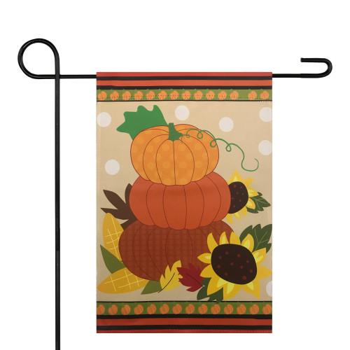 """Pumpkins and Sunflowers Autumn Garden Flag 12.5"""" x 18"""" - IMAGE 1"""