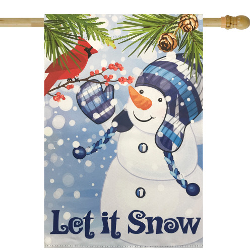 "Let It Snow Snowman and Cardinal Outdoor Garden Flag 28"" x 40"" - IMAGE 1"