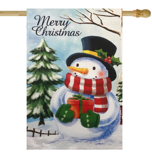 "Merry Christmas and Snowman Outdoor Garden Flag 28"" x 40"" - IMAGE 1"