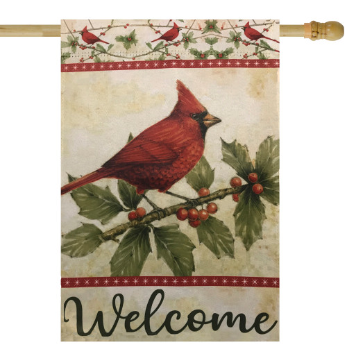 """Red Cardinal with Holly Berries Welcome Outdoor Garden Flag 28"""" x 40"""" - IMAGE 1"""