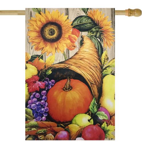 "Cornucopia and Flowers Autumn Harvest Outdoor Garden Flag 28"" x 40"" - IMAGE 1"