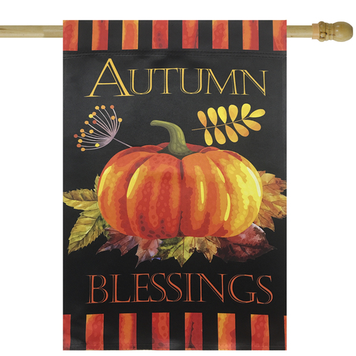 "Autumn Blessings and Pumpkin Outdoor Garden Flag 40"" x 28"" - IMAGE 1"