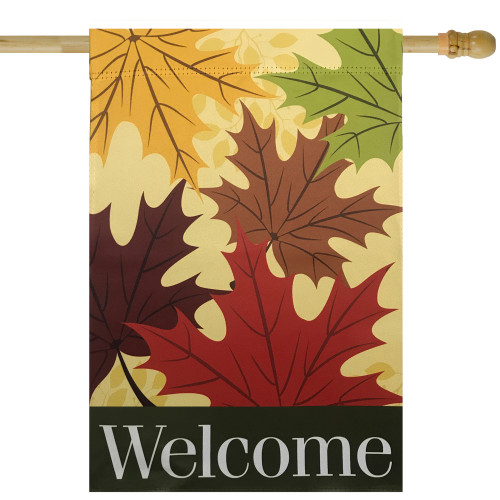 """Red and Yellow Fall Leaves Welcome Outdoor Garden Flag 28"""" x 40"""" - IMAGE 1"""