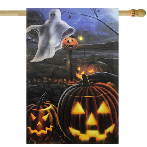 "Pumpkins and Ghost Spooky Halloween Outdoor Garden Flag 28"" x 40"" - IMAGE 1"