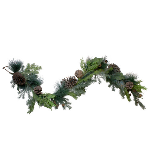 5' Pine Cone and Cedar Artificial Christmas Garland - Unlit - IMAGE 1
