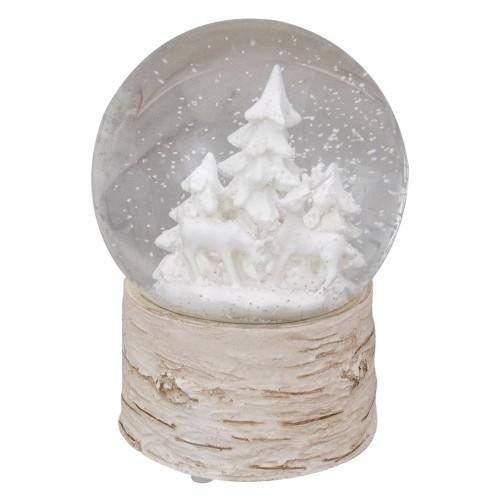 "5"" White Reindeer and Christmas Tree Snow Globe on Birch Base - IMAGE 1"