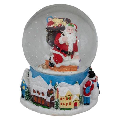 "6.5"" Santa Coming Down the Chimney Christmas Snow Globe - IMAGE 1"