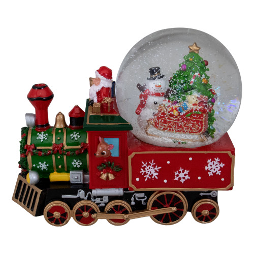 """8.5"""" Green and Red Christmas Train Snow Globe - IMAGE 1"""