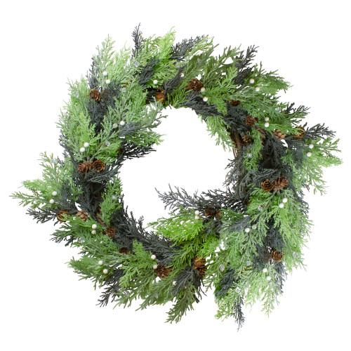 Berry, Cedar and Pine Cone Artificial Christmas Wreath - 24-Inch, Unlit - IMAGE 1