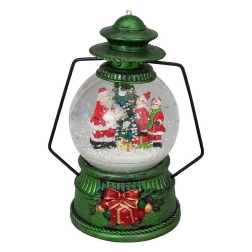 """8"""" Santa Claus and Kids By Christmas Tree Lantern Snow Globe - IMAGE 1"""