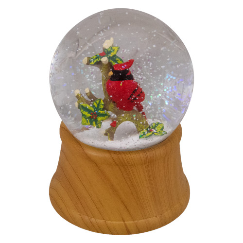 "5"" Red Cardinal on Branch Christmas Snow Globe - IMAGE 1"