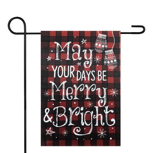 "Red and Black Buffalo Plaid Merry Christmas Garden Flag 12.5"" x 18"" - IMAGE 1"