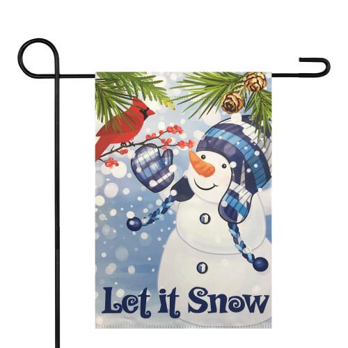 "Let It Snow Snowman and Cardinal Outdoor Garden Flag 12.5"" x 18"" - IMAGE 1"
