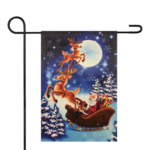 "Santa and Reindeer Sleigh Ride Outdoor Garden Flag 12.5"" x 18"" - IMAGE 1"