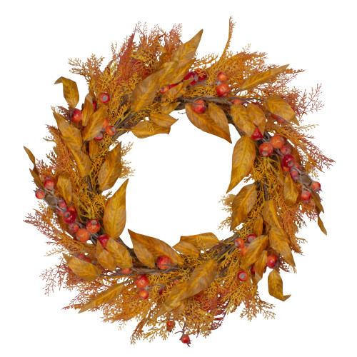 Yellow and Orange Berry and Leaves Fall Harvest Artificial Wreath - 24-Inch, Unlit - IMAGE 1