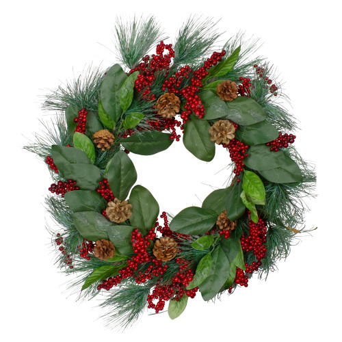 Leaves, Berry and Pine Needle Artificial Christmas Wreath - 24-Inch, Unlit - IMAGE 1