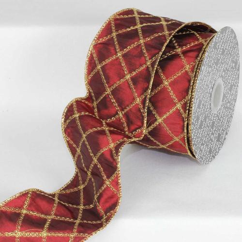 "Burgundy Red and Gold Diamond Swirl Wired Craft Ribbon 3"" x 20 Yards - IMAGE 1"