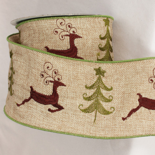 """Natural Brown and Beige Burlap Deer Wired Craft Ribbon 4"""" x 10 Yards - IMAGE 1"""