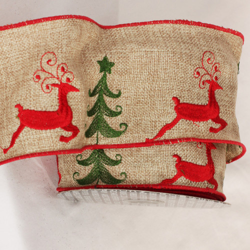 """Natural Red and Beige Burlap Deer Wired Craft Ribbon 4"""" x 10 Yards - IMAGE 1"""