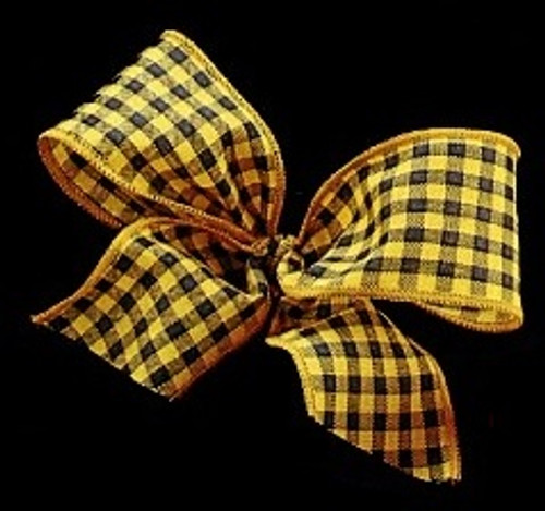 """Black and Yellow Checker Taxi Wired Craft Ribbon 1.5"""" x 22 Yards - IMAGE 1"""