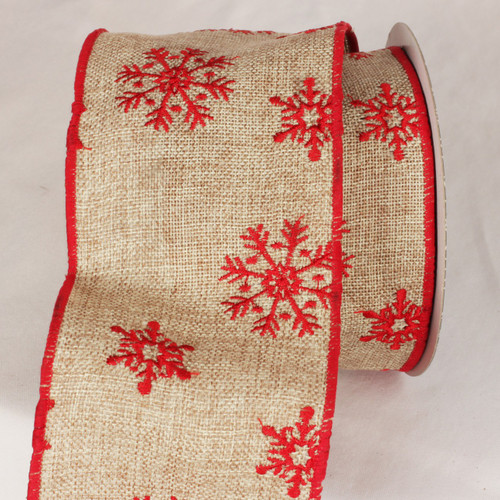 "Natural Red and Beige Burlap Snowflake Wired Craft Ribbon 4"" x 10 Yards - IMAGE 1"
