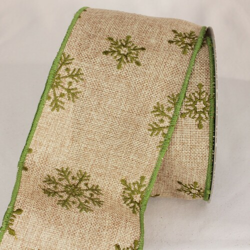 """Natural Green and Beige Burlap Snowflake Wired Craft Ribbon 4"""" x 10 Yards - IMAGE 1"""