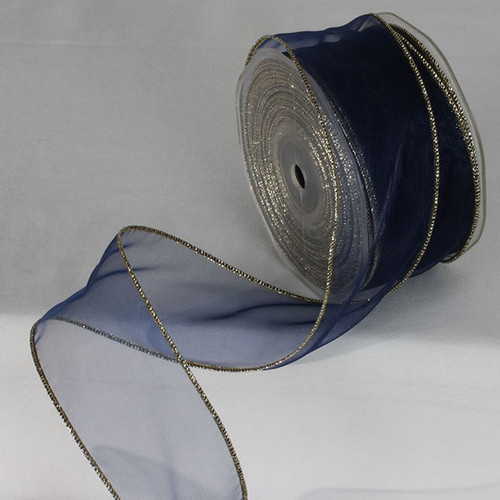 """Royal Blue and Gold Ribbed Wired Craft Ribbon 2"""" by 27 Yards - IMAGE 1"""