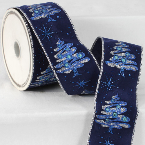 """Navy Blue and Silver Modern Tree Print Wired Craft Ribbon 2.5"""" x 20 Yards - IMAGE 1"""