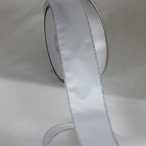 """Pack of 2 Silver Wired Craft Ribbon 2"""" x 20 Yards - IMAGE 1"""