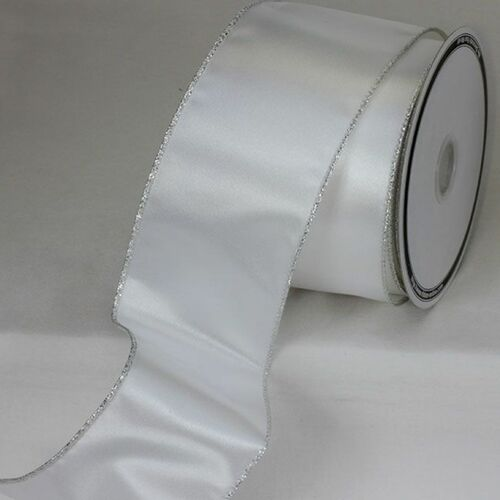 """Pack of 2 Silver Wired Craft Ribbon 3"""" x 20 Yards - IMAGE 1"""